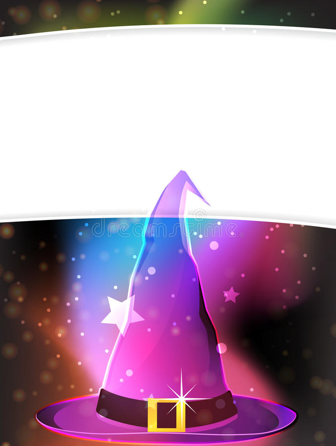 Witch hat. Transparent witch hat on a spectral background vector illustration