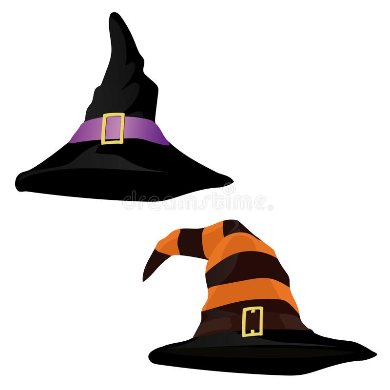 Witch Hat. Holiday card with witch hat on corner. Vector illustration. stock photo