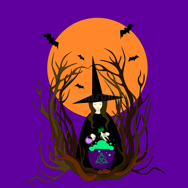 Witch hat preparing a magical potion. royalty free illustration