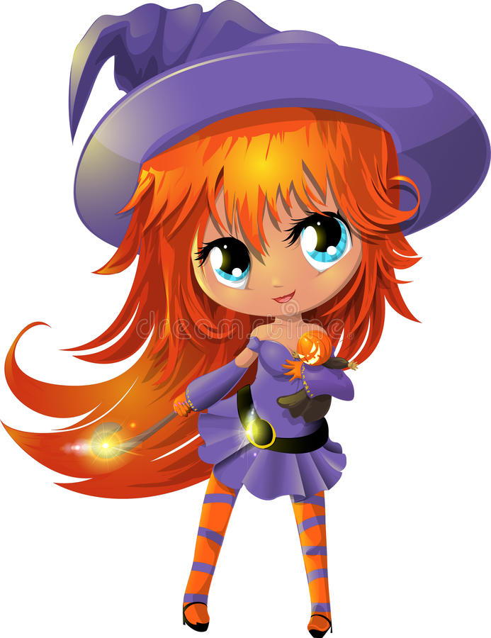 Witch. The witch in a hat on a white background stock illustration