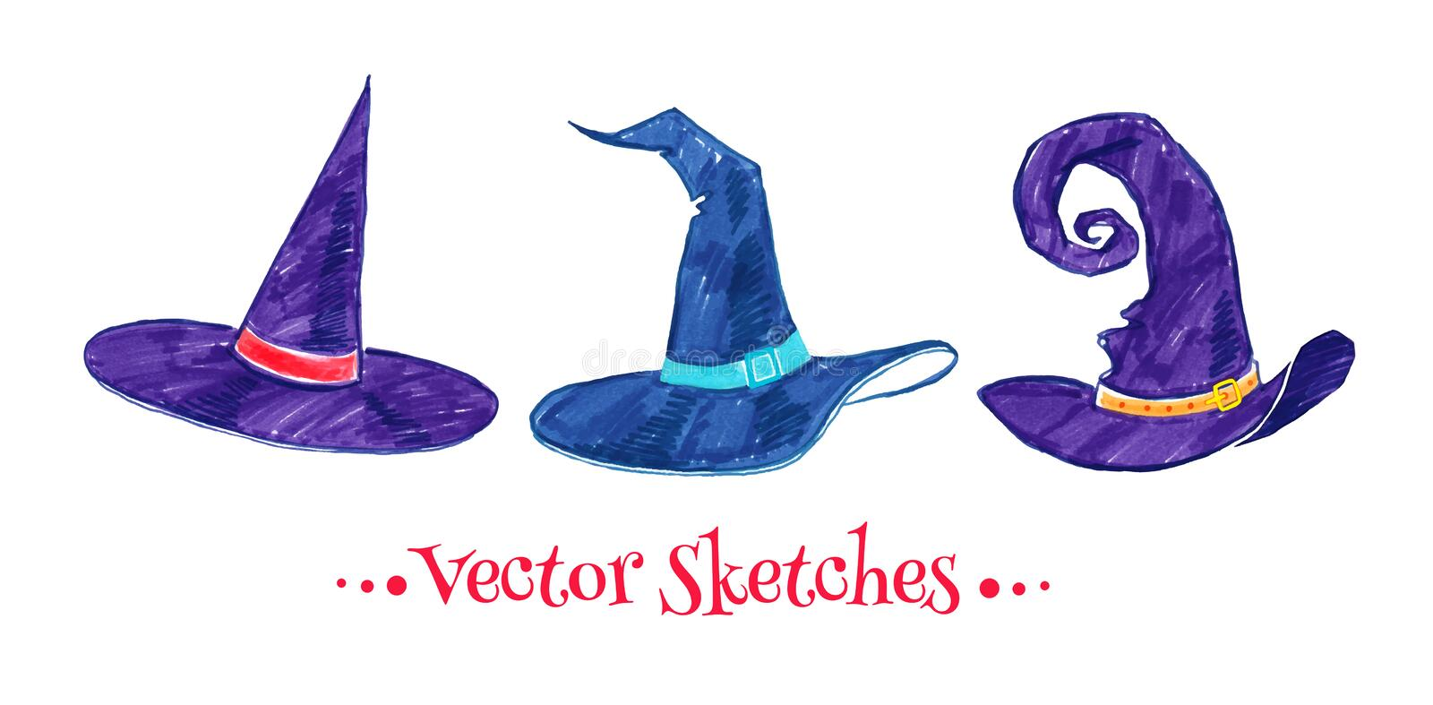 Witch hats. Childlike drawing of witch hats royalty free illustration