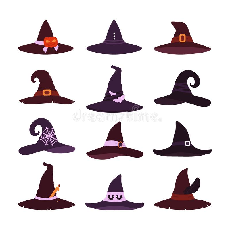 Witch hats collection isolated on white background. A set of items for Halloween. Vector illustration. In the style of flat royalty free illustration