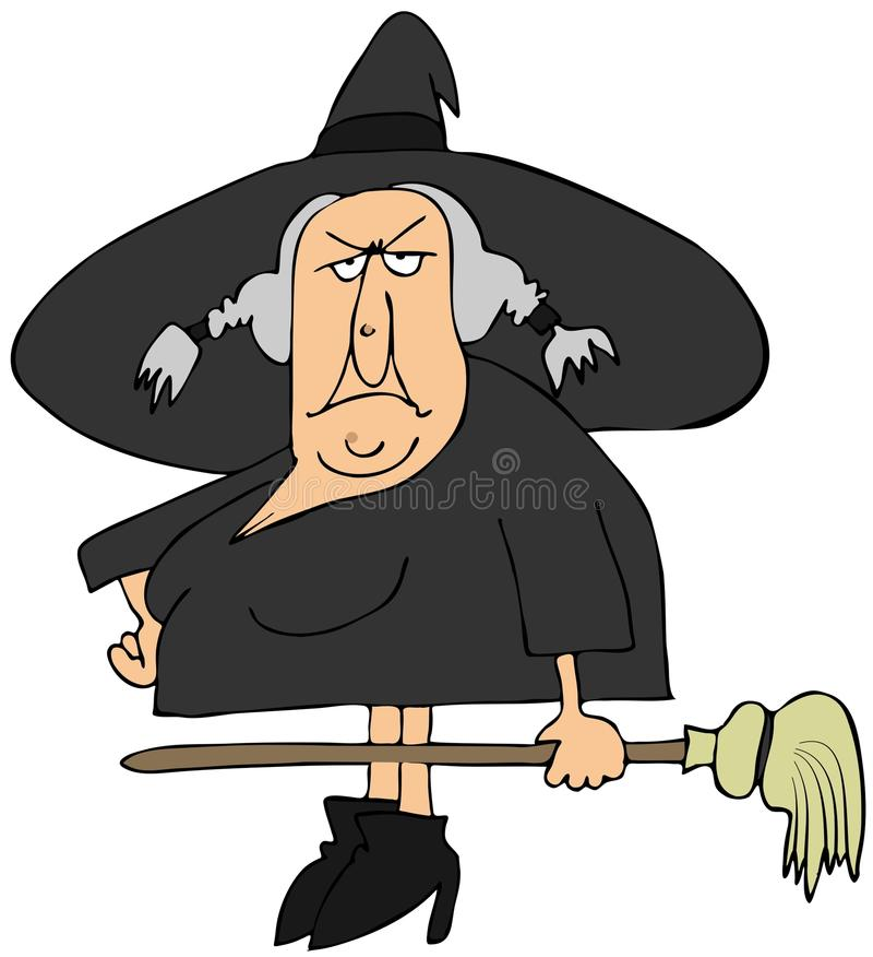 Download Witch and her broom stock illustration. Illustration of cartoon - 26144735