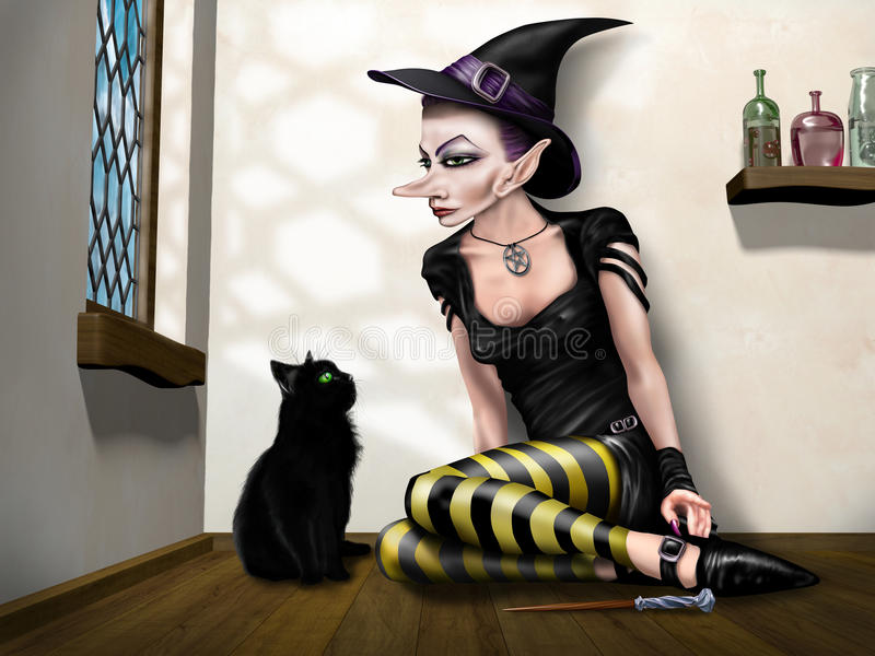 Witch with her familiar vector illustration