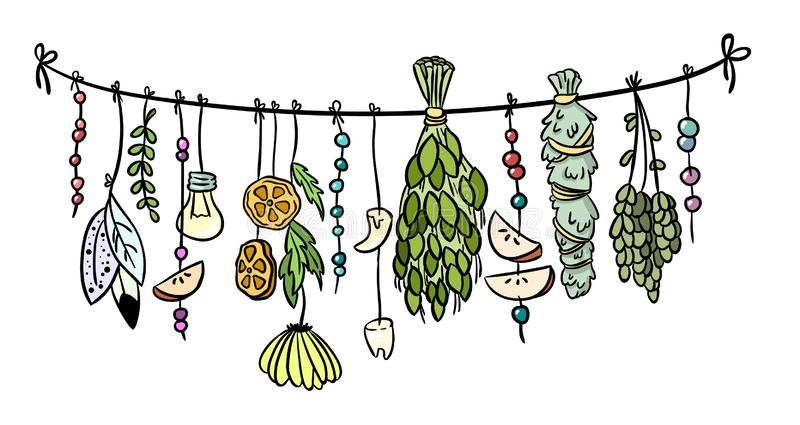Witch herbs boho hanging colorful doodle decoration royalty free illustration