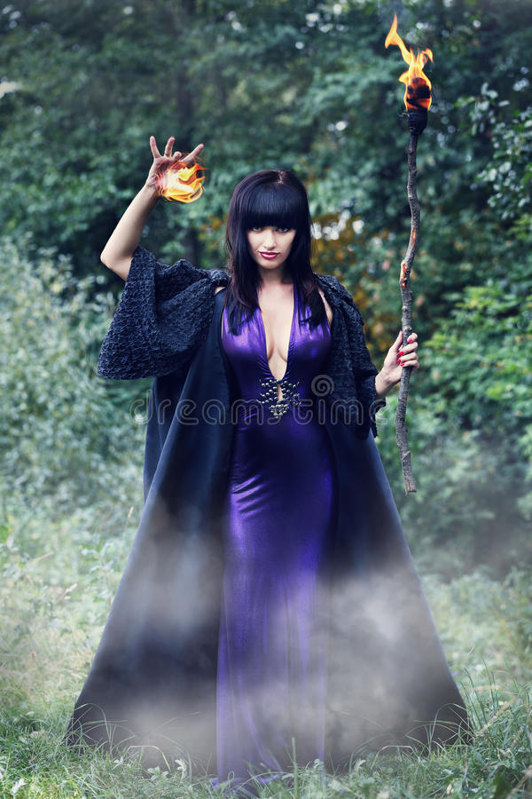 Download Witch Holding A Fireball Stock Photo Image Of Gothic
