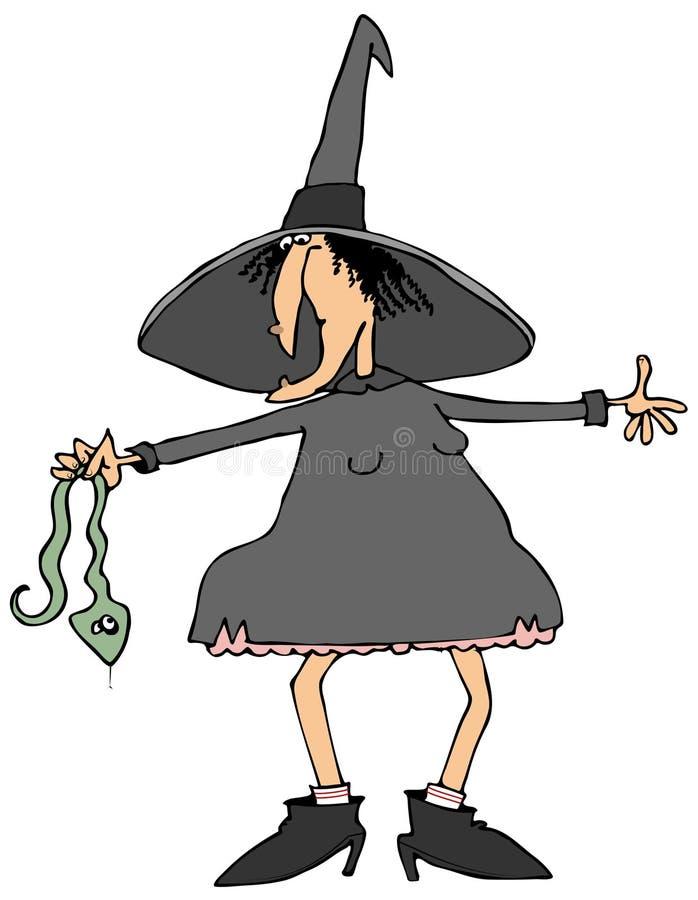 Witch holding a snake stock illustration