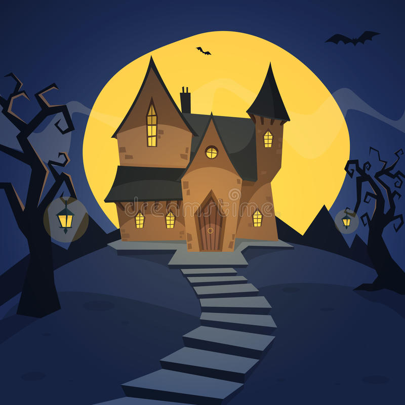 Witch House. Cartoon illustration of the witch house on hill vector illustration