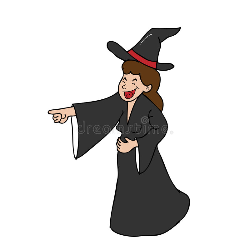 Witch laughing pointing cartoon royalty free illustration