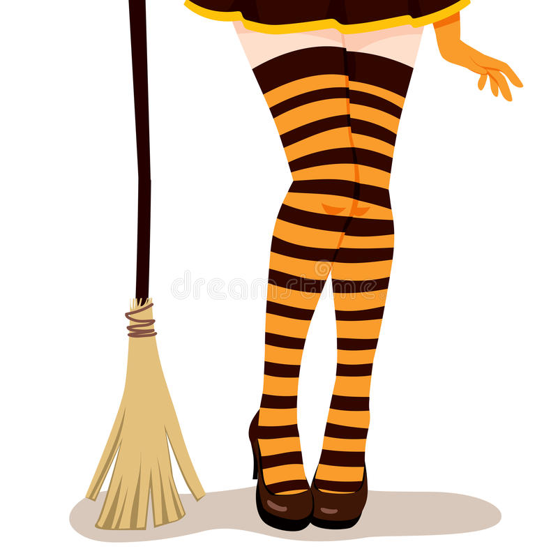 Free Witch Legs Broom Royalty Free Stock Photo - 45042435