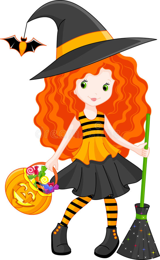 Witch. Little Witch goes to Halloween stock illustration