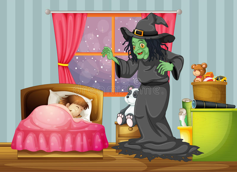 Download A Witch Looking At The Girl Sleeping Inside The Room Stock Vector - Illustration: 33314710