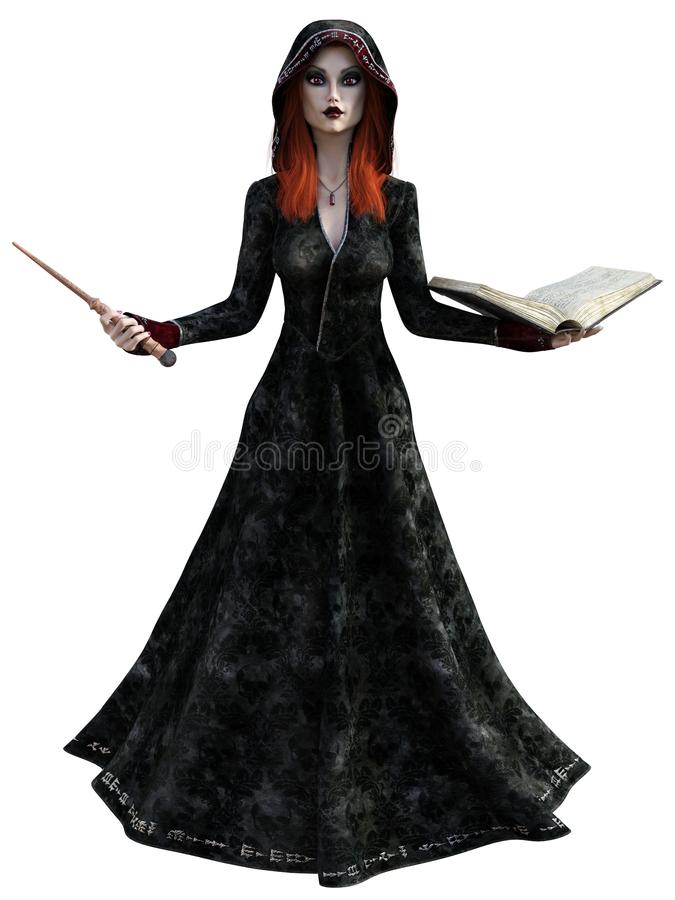 Witch with a magic wand and book vector illustration