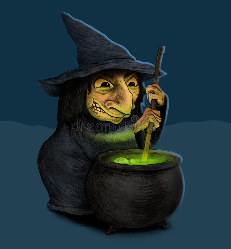Witch Making Spells With Cauldron royalty free stock photography