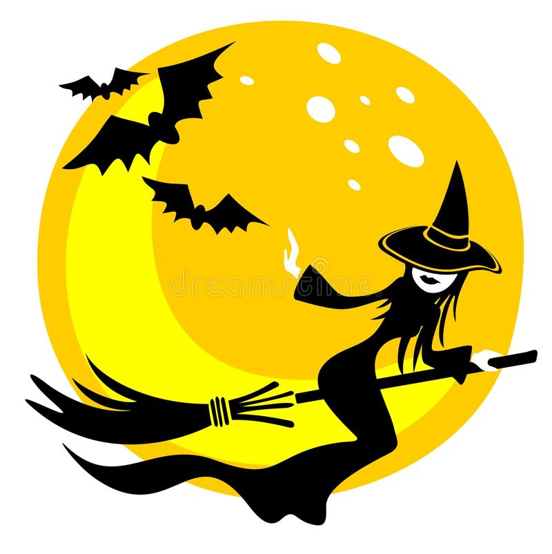 Download Witch and moon stock vector. Image of yellow, drawing - 10365964