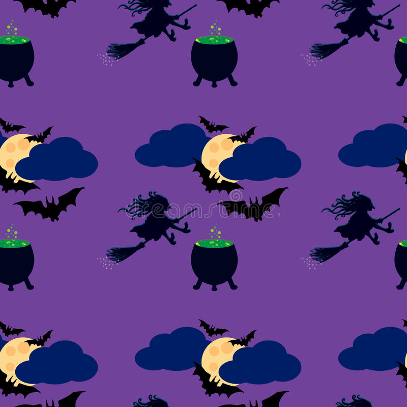 Witch and moon seamless pattern royalty free illustration