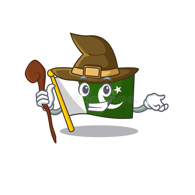 Witch pakistan mascot flag in cartoon drawer vector illustration