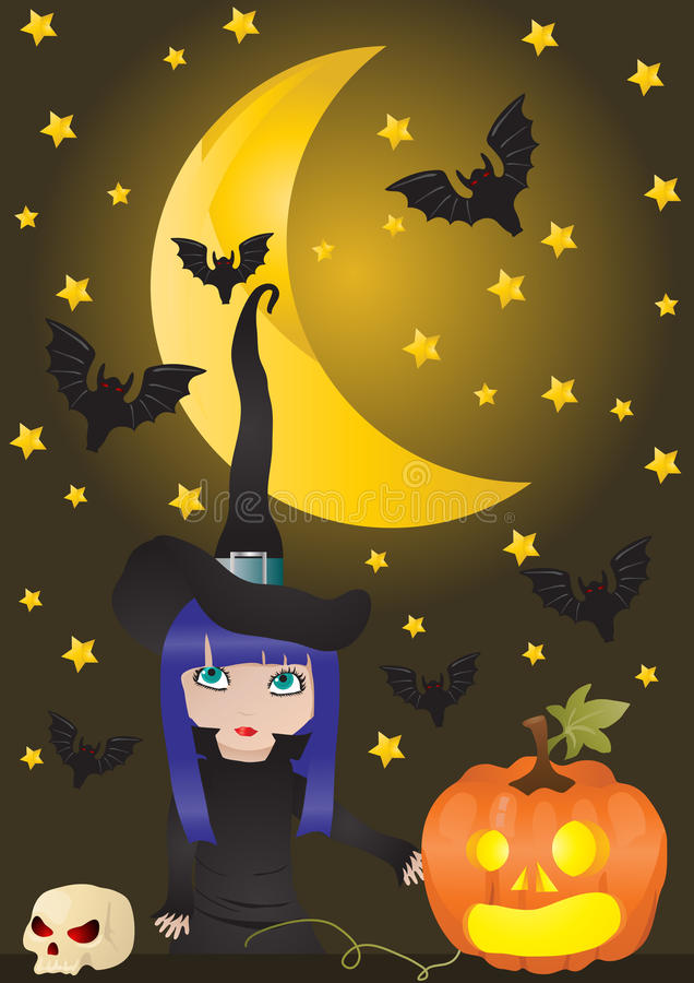Witch and pumpkin. Vector illustration of witch and pumpkin on the background of moon with bats vector illustration
