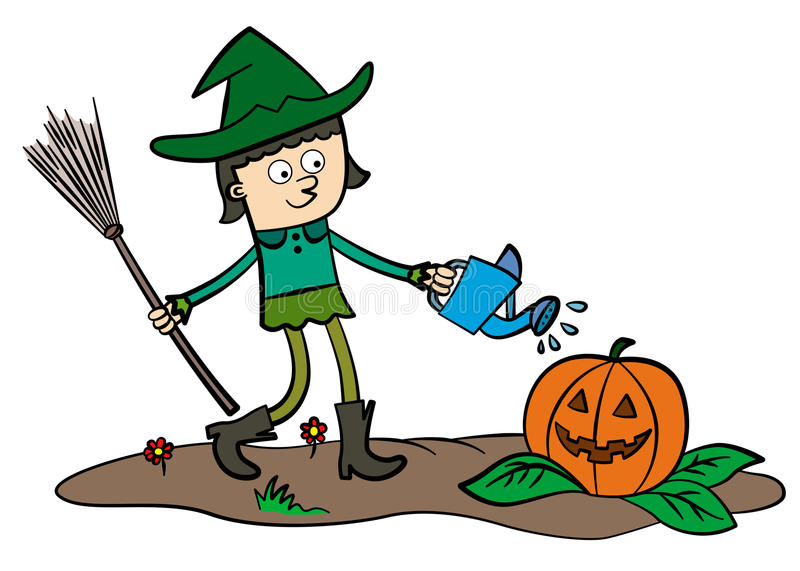 Download Witch and pumpkin stock illustration. Image of girl, design - 26318441