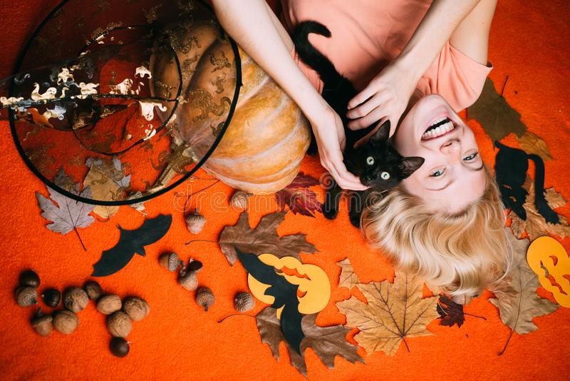 Witch with Pumpkin and black cat. Halloween wide banner with Woman. Halloween wide poster for Happy halloween. Celebrate. Halloween decoration and autumn stock image