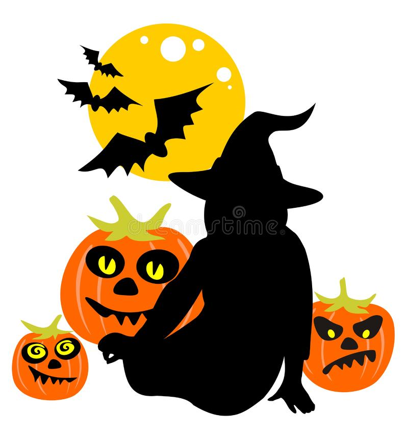 Download Witch and pumpkins stock vector. Illustration of black - 6622382