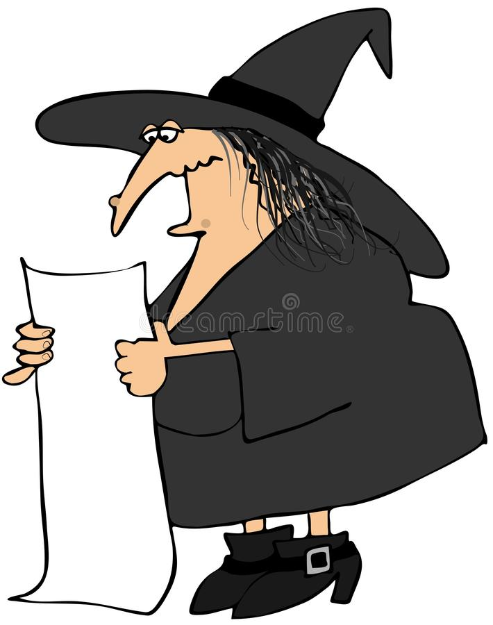 Download Witch Reading From A Long Paper Stock Illustration - Image: 26237978