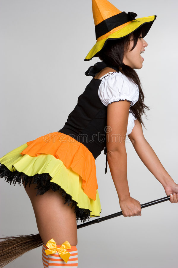 Download Witch Riding Broom stock photo. Image of halloween, pretty - 6668584