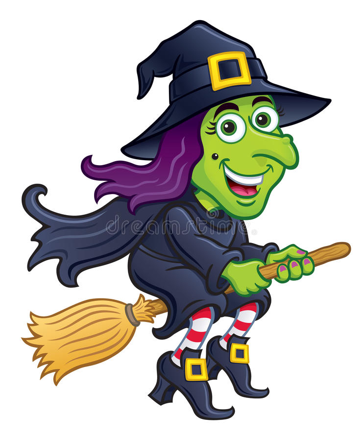 Witch Riding Her Broom stock illustration