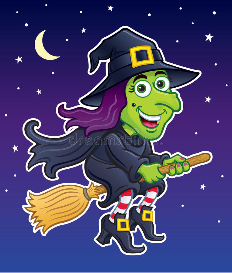 Witch Riding Her Broom In A Night Sky stock illustration