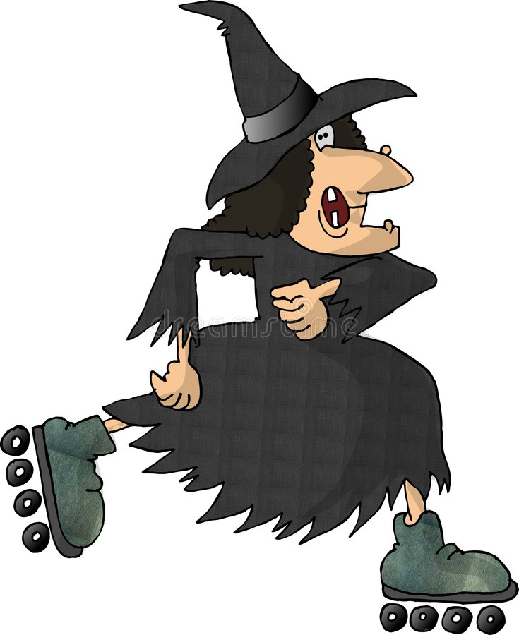 Witch on Rollerblades vector illustration