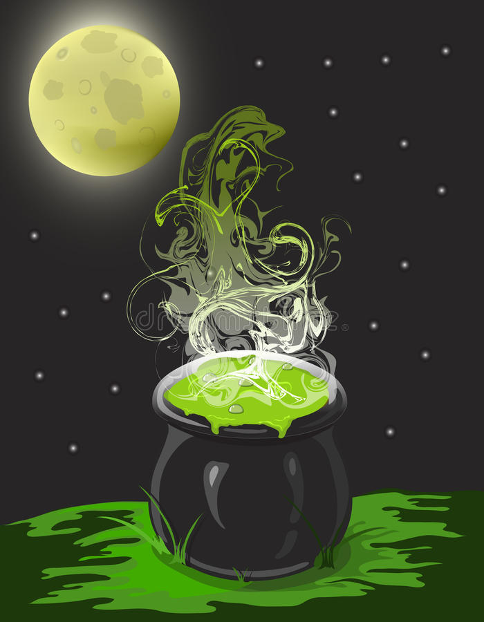 Download Witch's Cauldron stock illustration. Image of night, moon - 10961519