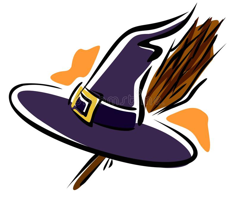 Halloween clip art, witch`s hat and a broom royalty free illustration