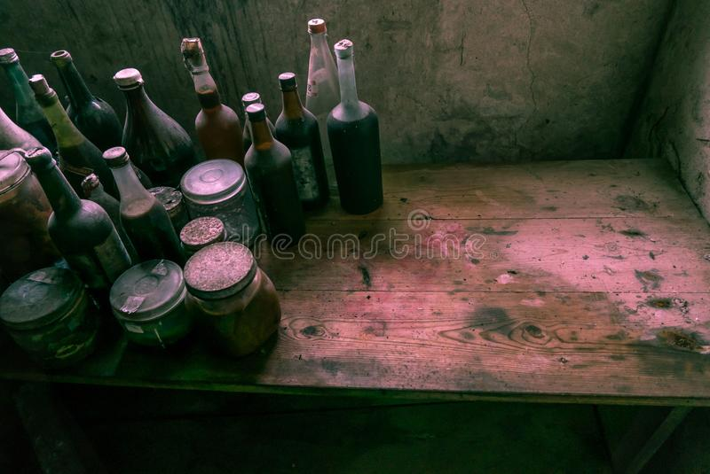 A witch`s kitchen. Plenty of space for text. stock photos