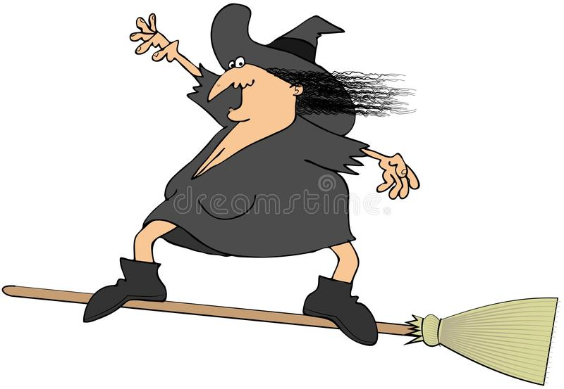 Witch surfing on a broom