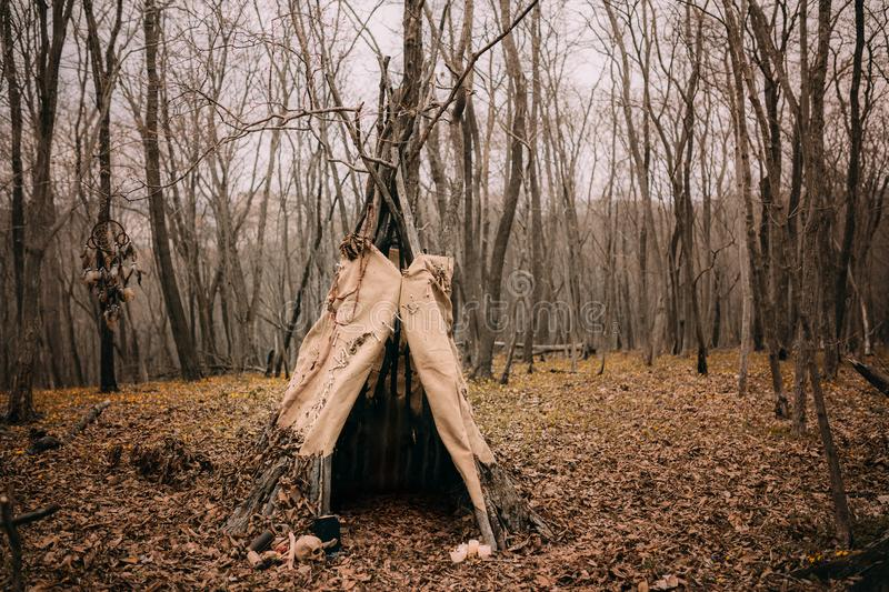 Witch tent in a autumn forest royalty free stock photos