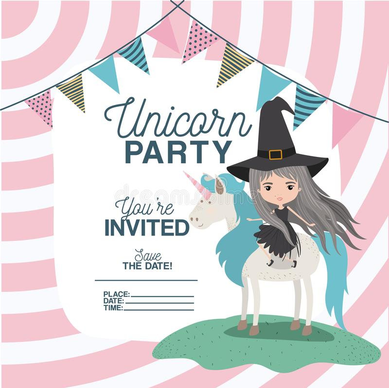 Witch with unicorn invitation card stock vector illustration of download witch with unicorn invitation card stock vector illustration of banner clipart 115150012 stopboris Choice Image