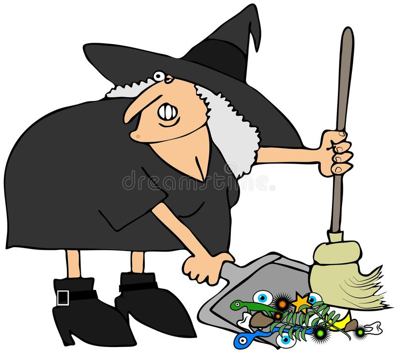 Download Witch Using A Broom And Dustpan Stock Images - Image: 26171174