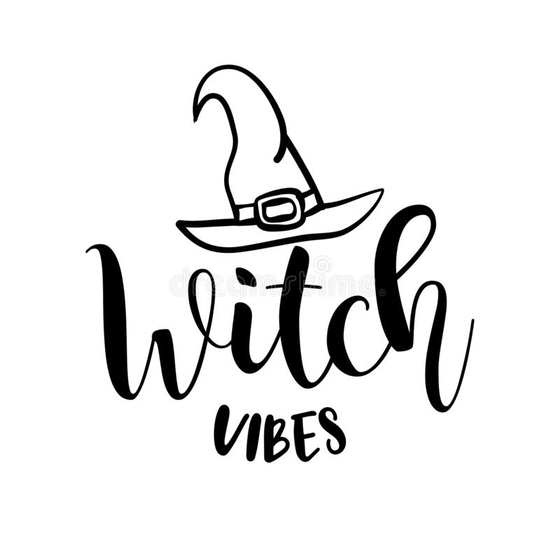 Witch Vibes - Halloween quote on black background. royalty free illustration