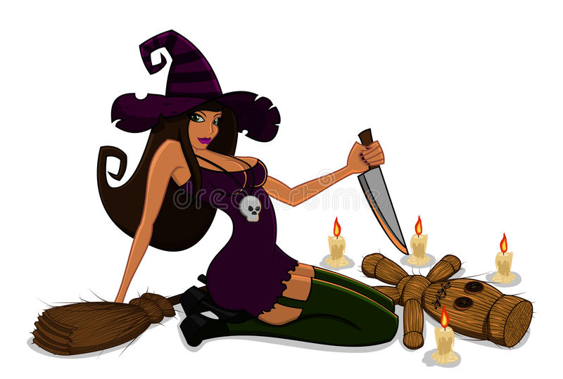 Download Witch with a voodoo doll stock illustration. Image of doll - 26381294