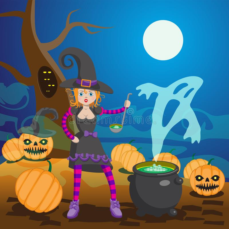 Witch in Wood Preparing Potion Vector Illustration. Cartoon Character. Cast Iron Pot with Boiling Brew. Halloween Night Party, vector illustration