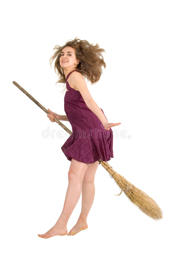 Witch Young Fly With Broom Royalty Free Stock Photo