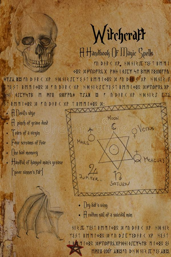 Witchcraft document. Seal of Solomon, skull, bat's wing, runes, pentagram. royalty free illustration