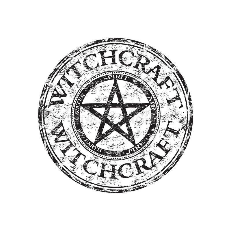 witchcraft för rubber stämpel för grunge royaltyfri illustrationer