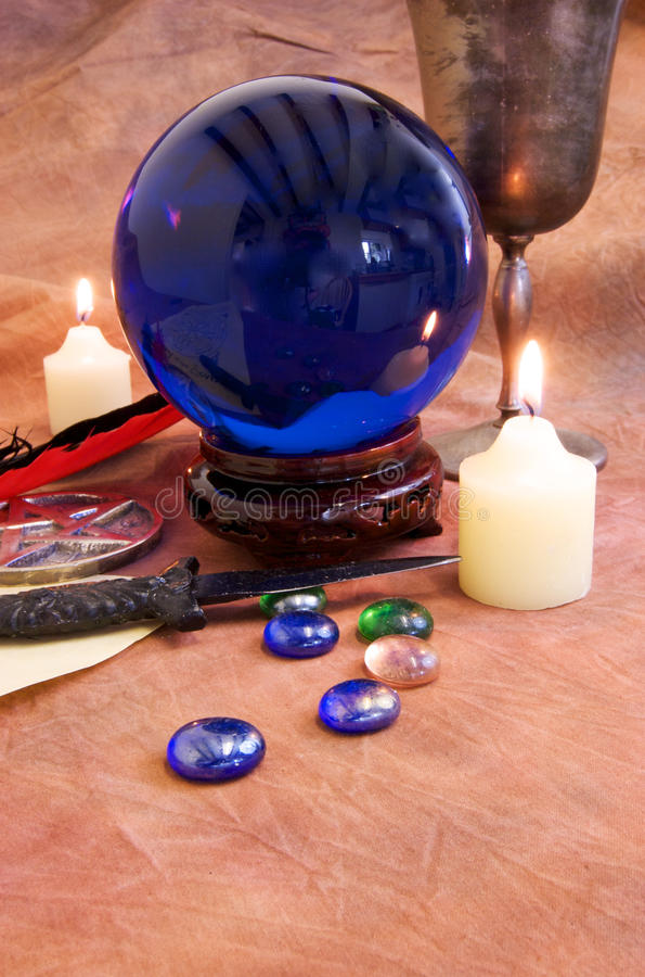 Witchcraft Objects 3. Witchcraft and Wicca objects on a rustic brown background stock photos