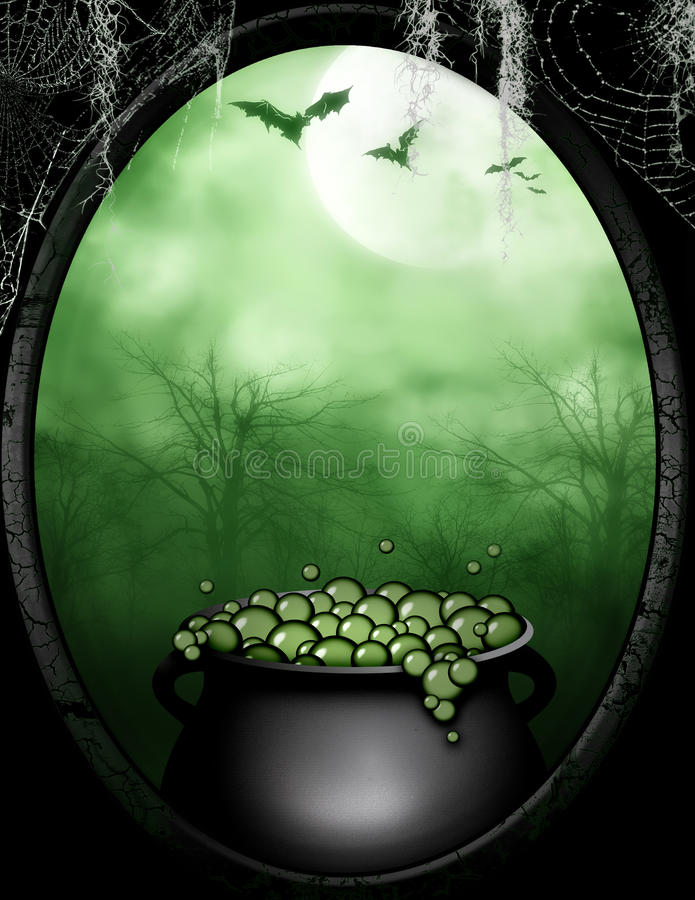 The Witches Bubbling Cauldron royalty free illustration