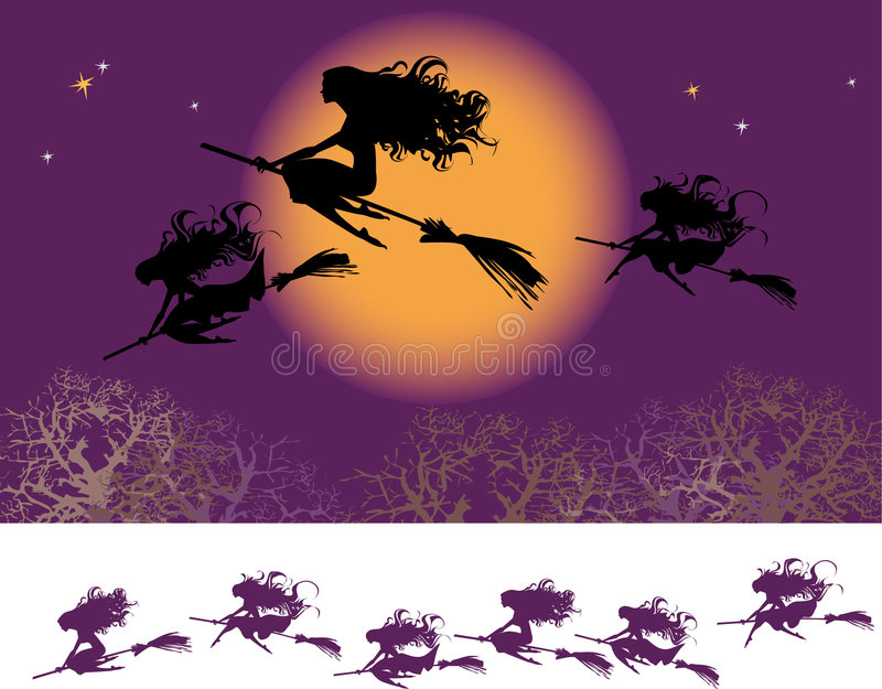 Download Witches fly stock vector. Image of grey, fiesta, season - 3079331