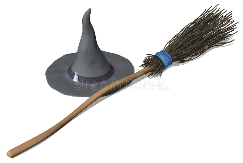 Witches Hat & Broom. 3D illustration of a witches hat and broom, isolated on white. Inspired by my mother-in-law