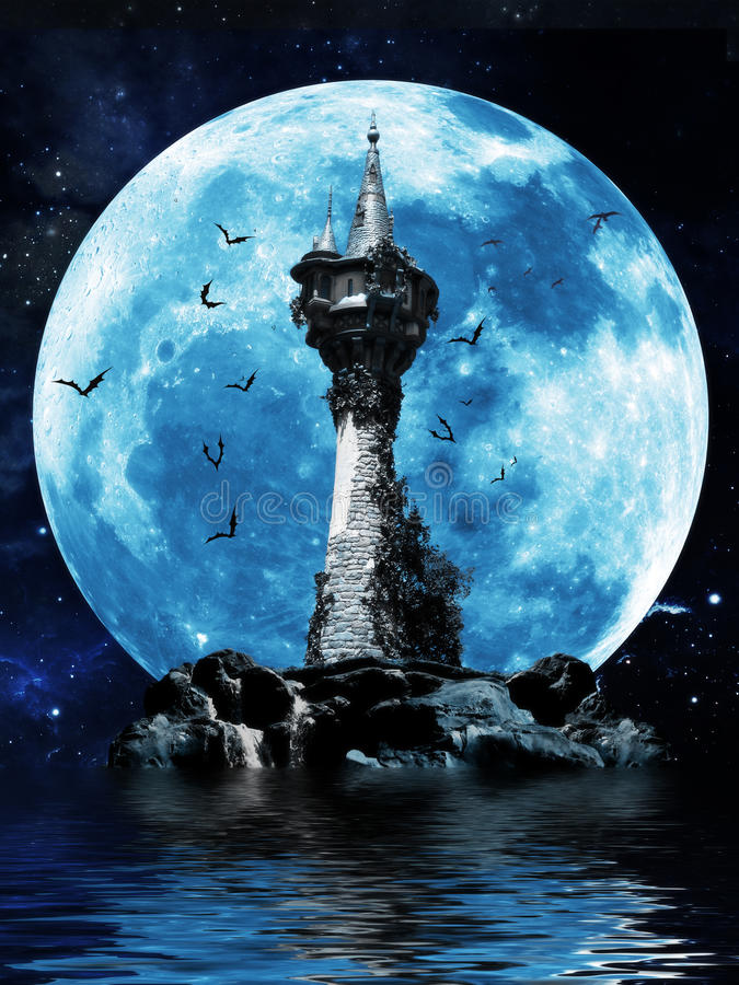 Witches tower. Halloween image of a dark mysterious tower on a rock island with bats and a moon background vector illustration