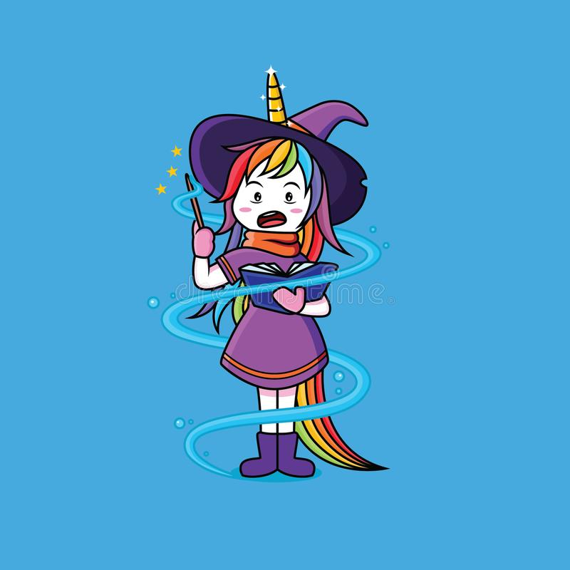 Witches Unicorn are learning magic wands. Cute, vector, pink, cartoon, sweet, fairy, tale, drawing, girl, rainbow, illustration, comic, fable, drawn stock illustration