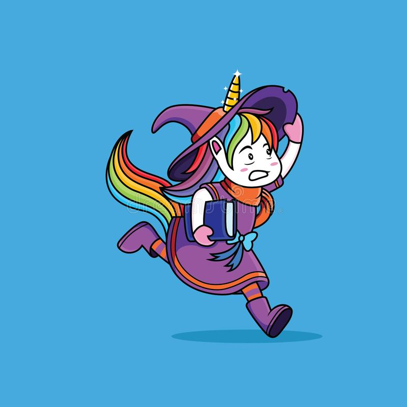 Witches Unicorn are running. Cute, vector, pink, cartoon, sweet, fairy, tale, drawing, girl, rainbow, illustration, comic, fable, drawn, illustrated, fantasy royalty free illustration